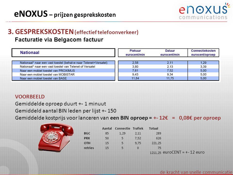 eNOXUS – prijzen gesprekskosten