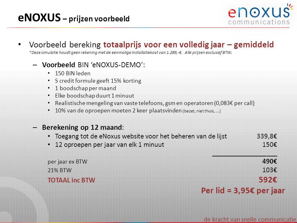 eNOXUS – prijzen voorbeeld