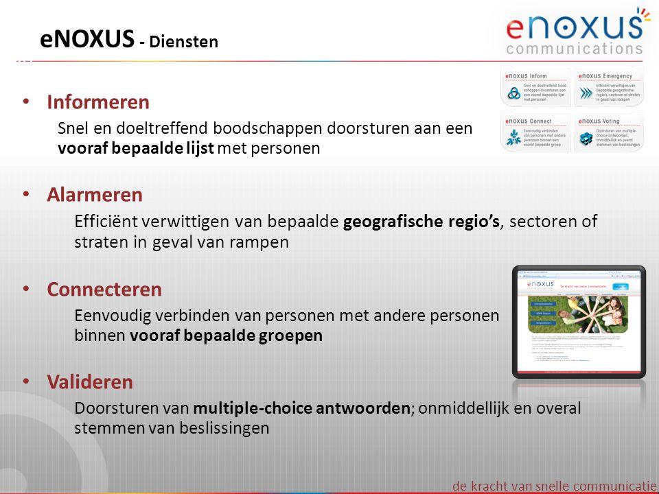 eNOXUS - Diensten Informeren Alarmeren Connecteren Valideren