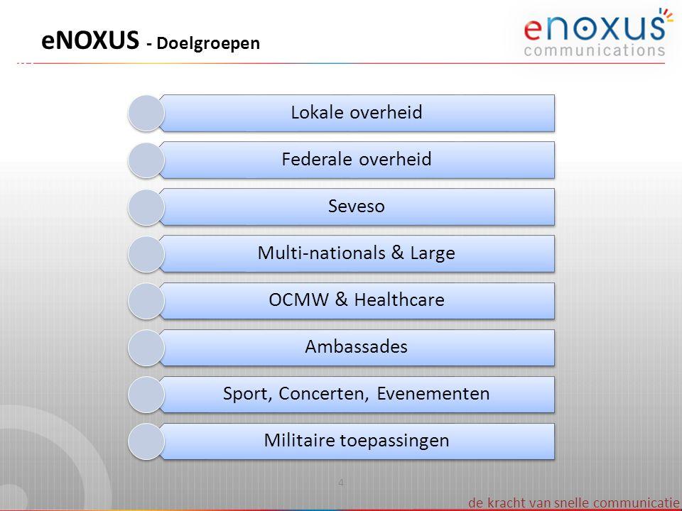 eNOXUS - Doelgroepen Lokale overheid Federale overheid Seveso