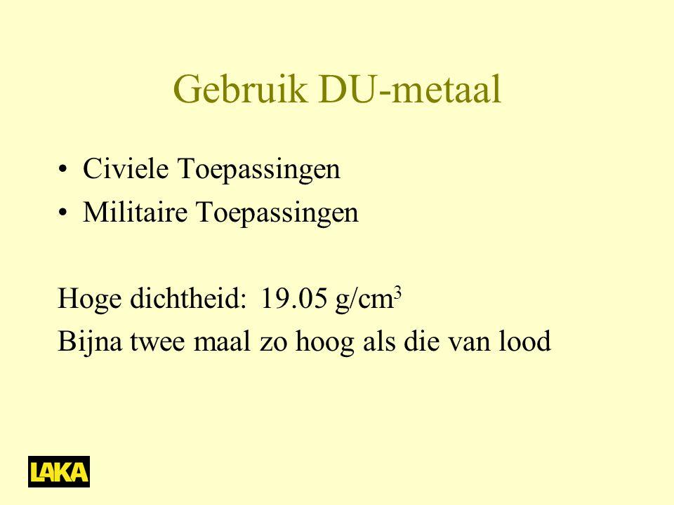 Gebruik DU-metaal Civiele Toepassingen Militaire Toepassingen