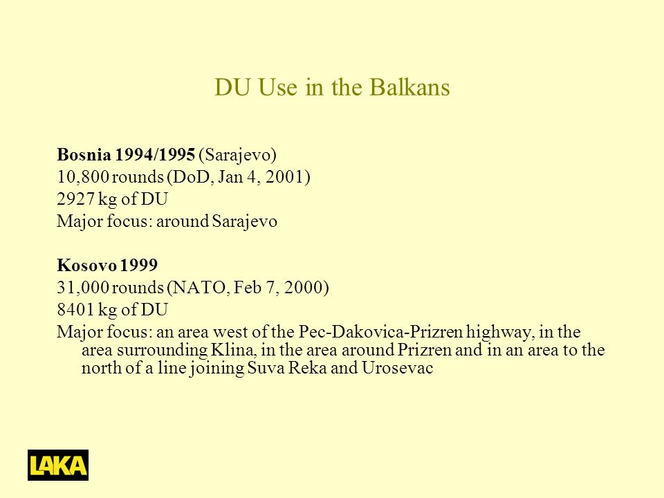 DU Use in the Balkans Bosnia 1994/1995 (Sarajevo)