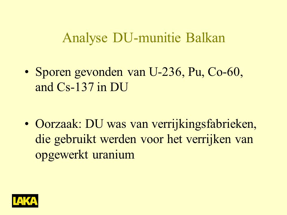 Analyse DU-munitie Balkan