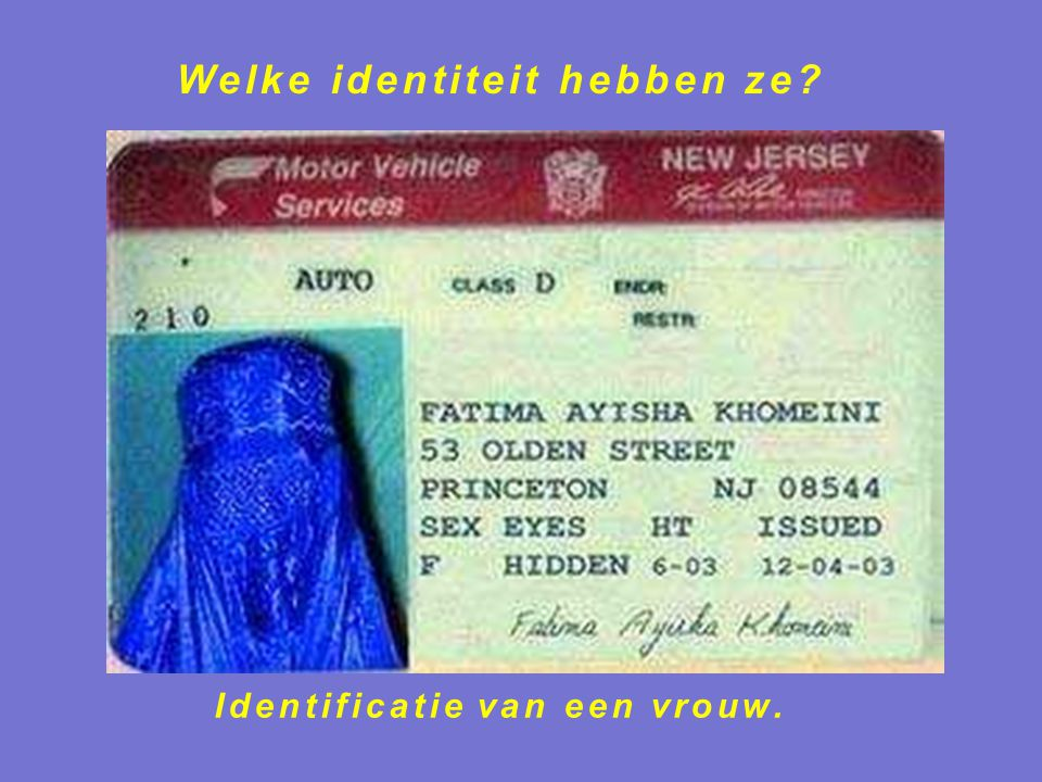 Identificatie van een vrouw.