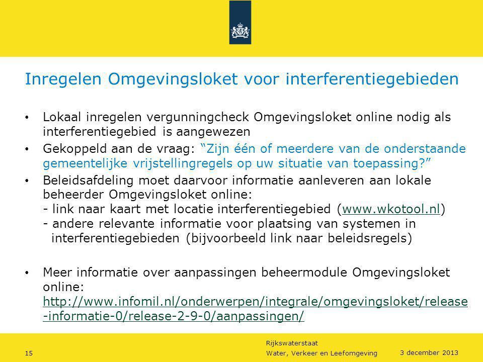 Inregelen Omgevingsloket voor interferentiegebieden