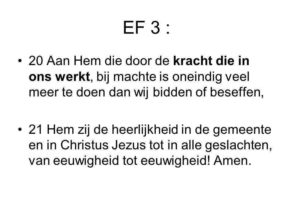 EF 3 : 20 Aan Hem die door de kracht die in ons werkt, bij machte is oneindig veel meer te doen dan wij bidden of beseffen,