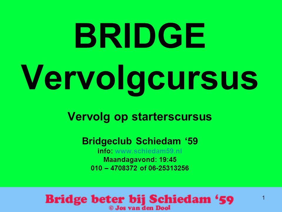 BRIDGE Vervolgcursus Vervolg op starterscursus Bridgeclub Schiedam '59 info: www.schiedam59.nl Maandagavond: 19:45 010 – 4708372 of 06-25313256