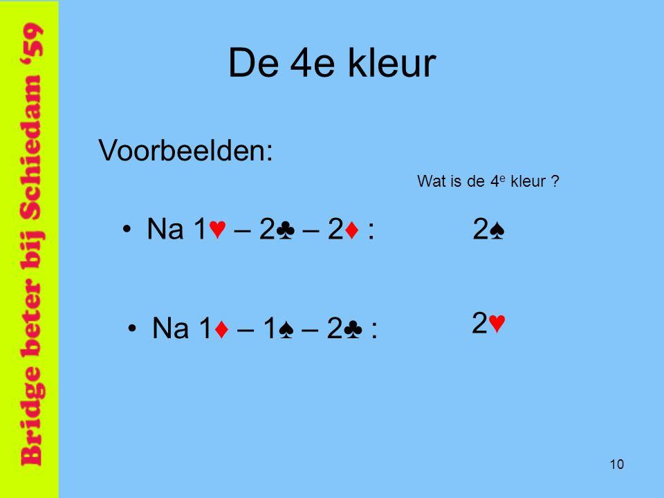 De 4e kleur Voorbeelden: Na 1♥ – 2♣ – 2♦ : 2♠ 2♥ Na 1♦ – 1♠ – 2♣ :