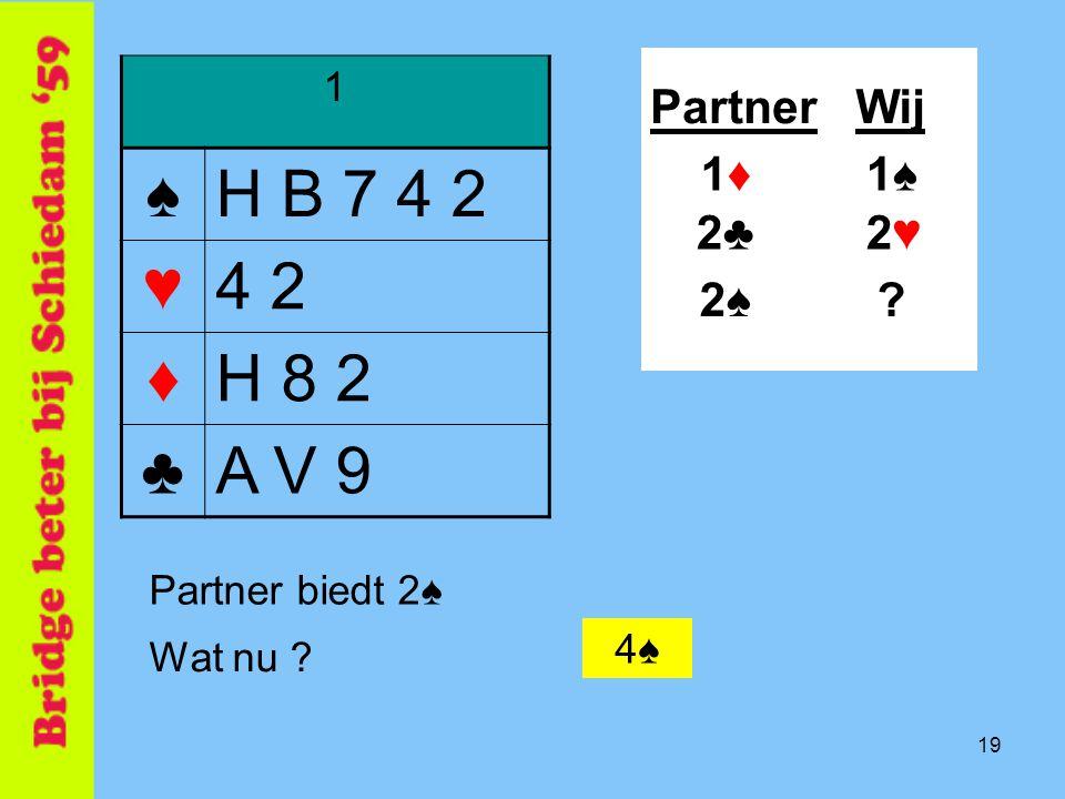 ♠ H B 7 4 2 ♥ 4 2 ♦ H 8 2 ♣ A V 9 Partner Wij 1♦ 1♠ 2♣ 2♥ 2♠ 1