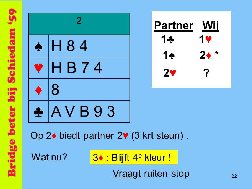 ♠ H 8 4 ♥ H B 7 4 ♦ 8 ♣ A V B 9 3 Partner Wij 1♣ 1♥ 1♠ 2♦ * 2♥ 2