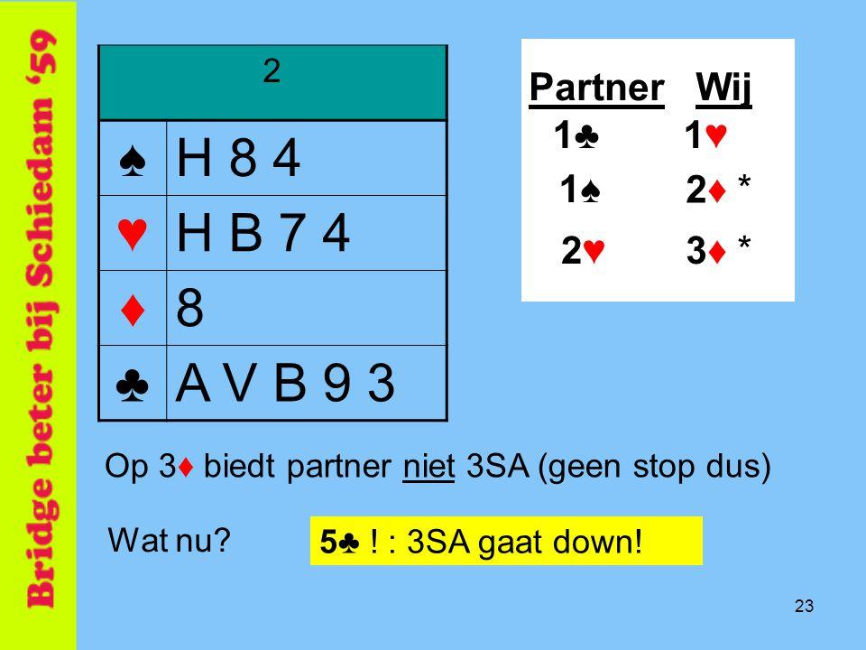 ♠ H 8 4 ♥ H B 7 4 ♦ 8 ♣ A V B 9 3 Partner Wij 1♣ 1♥ 1♠ 2♦ * 2♥ 3♦ * 2