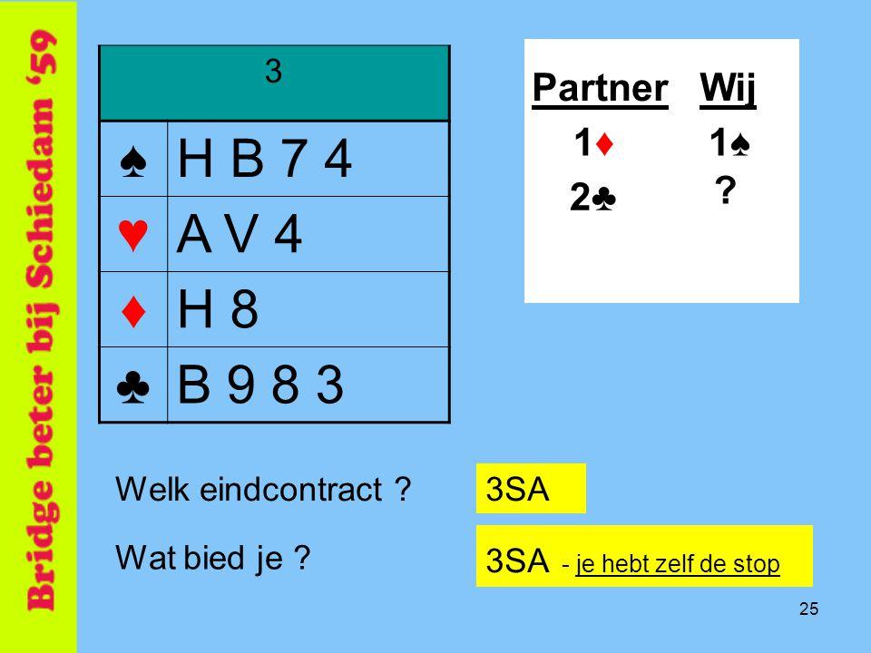 ♠ H B 7 4 ♥ A V 4 ♦ H 8 ♣ B 9 8 3 Partner Wij 1♦ 1♠ 2♣ 3