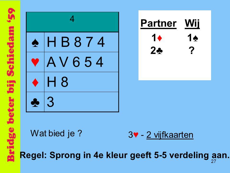 ♠ H B 8 7 4 ♥ A V 6 5 4 ♦ H 8 ♣ 3 Partner Wij 1♦ 1♠ 2♣ 4