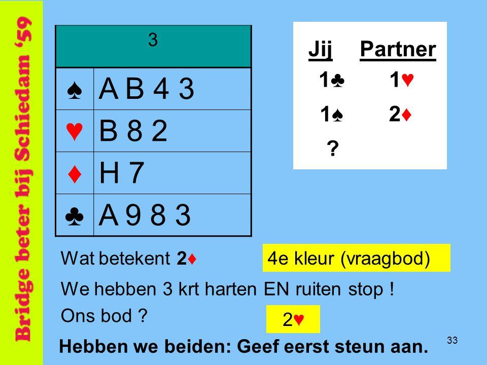 ♠ A B 4 3 ♥ B 8 2 ♦ H 7 ♣ A 9 8 3 Jij Partner 1♣ 1♥ 1♠ 2♦ 3