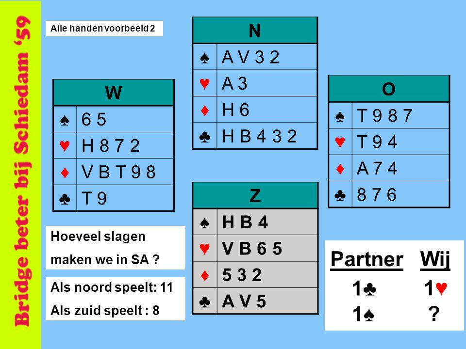 Partner Wij 1♣ 1♥ 1♠ N ♠ A V 3 2 ♥ A 3 ♦ H 6 ♣ H B 4 3 2 O ♠ T 9 8 7