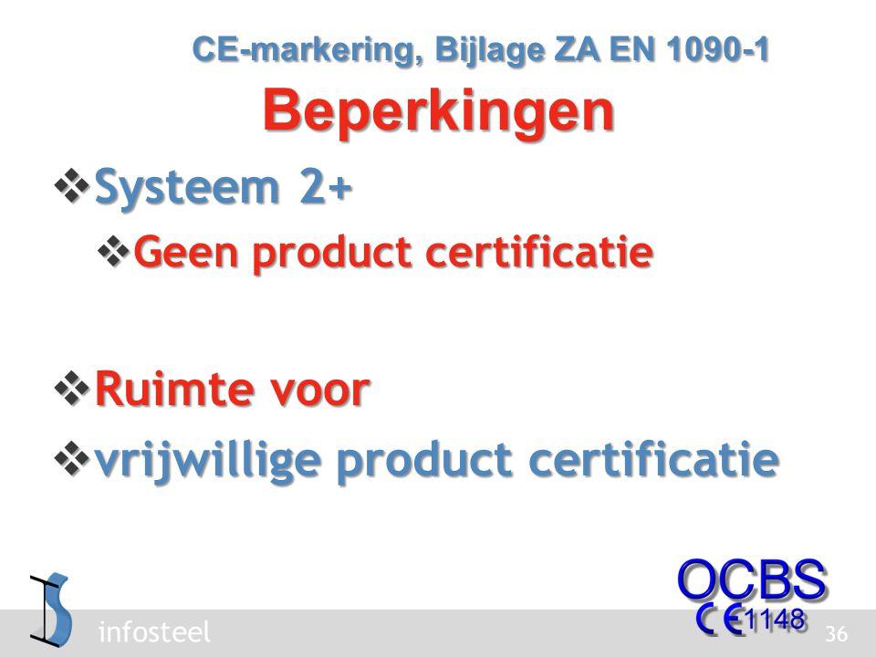 CE-markering, Bijlage ZA EN 1090-1 Beperkingen