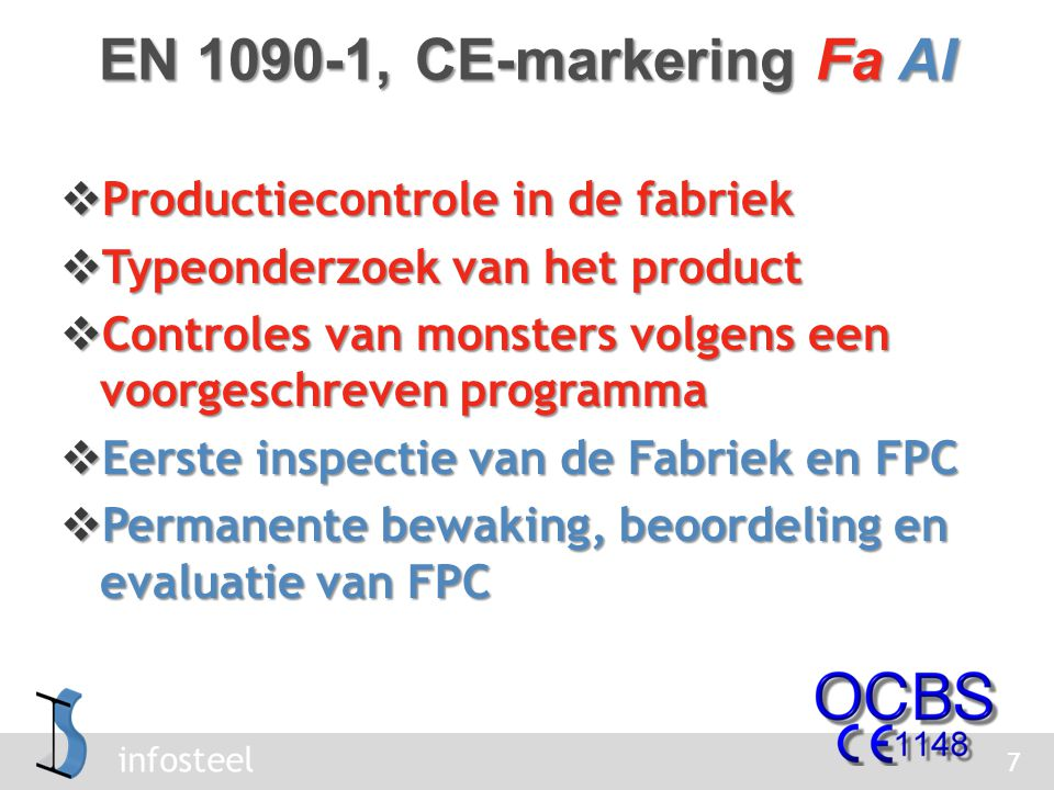 EN 1090-1, CE-markering Fa AI Productiecontrole in de fabriek