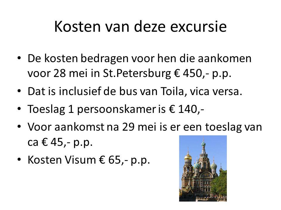 Kosten van deze excursie