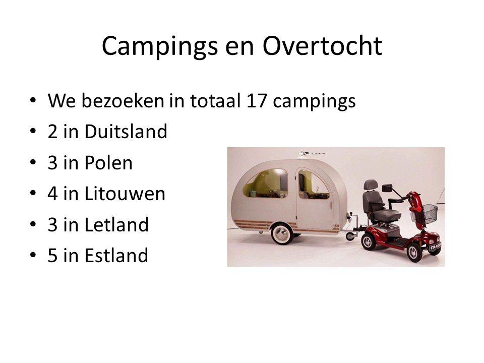 Campings en Overtocht We bezoeken in totaal 17 campings 2 in Duitsland