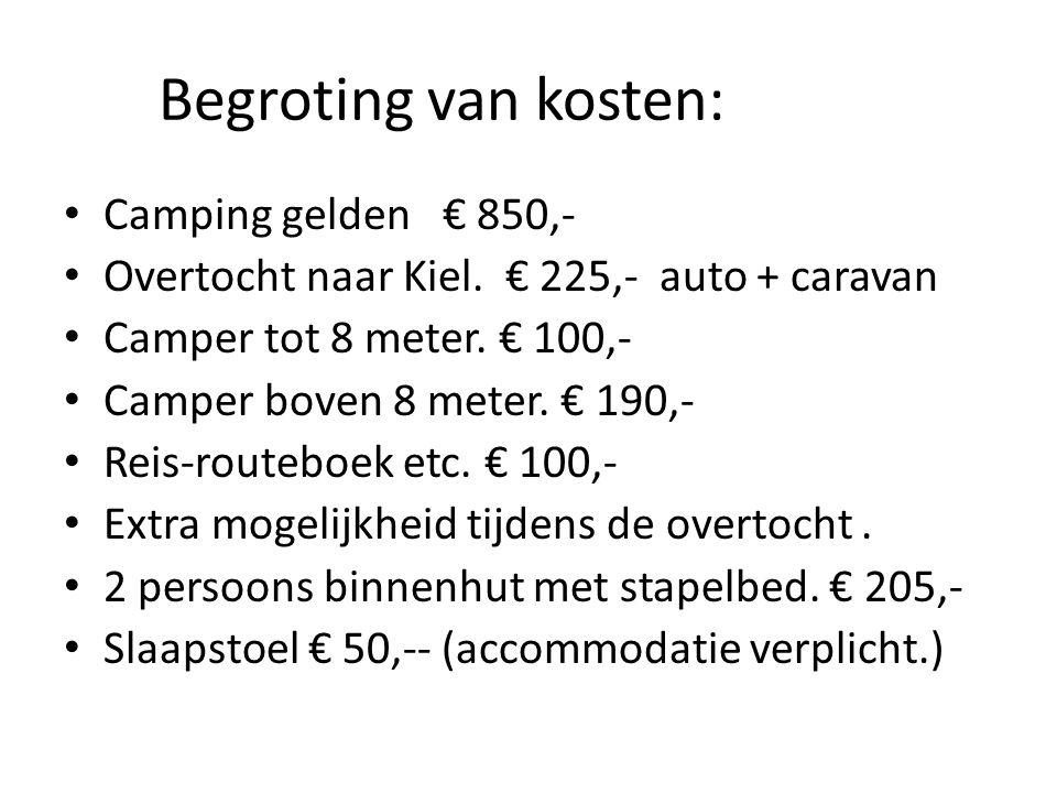 Begroting van kosten: Camping gelden € 850,-