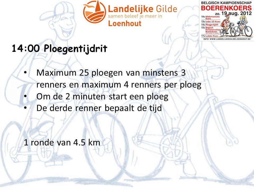 14:00 Ploegentijdrit Maximum 25 ploegen van minstens 3 renners en maximum 4 renners per ploeg. Om de 2 minuten start een ploeg.