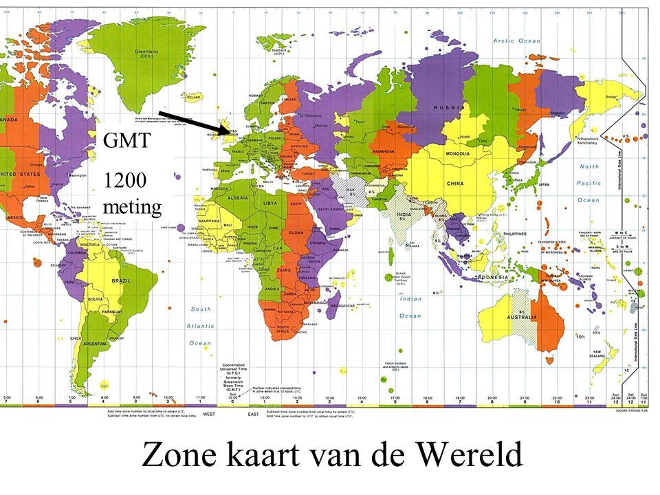 Zone kaart van de Wereld