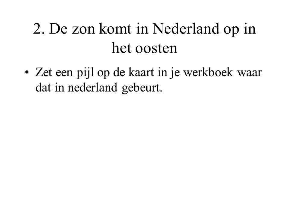 2. De zon komt in Nederland op in het oosten