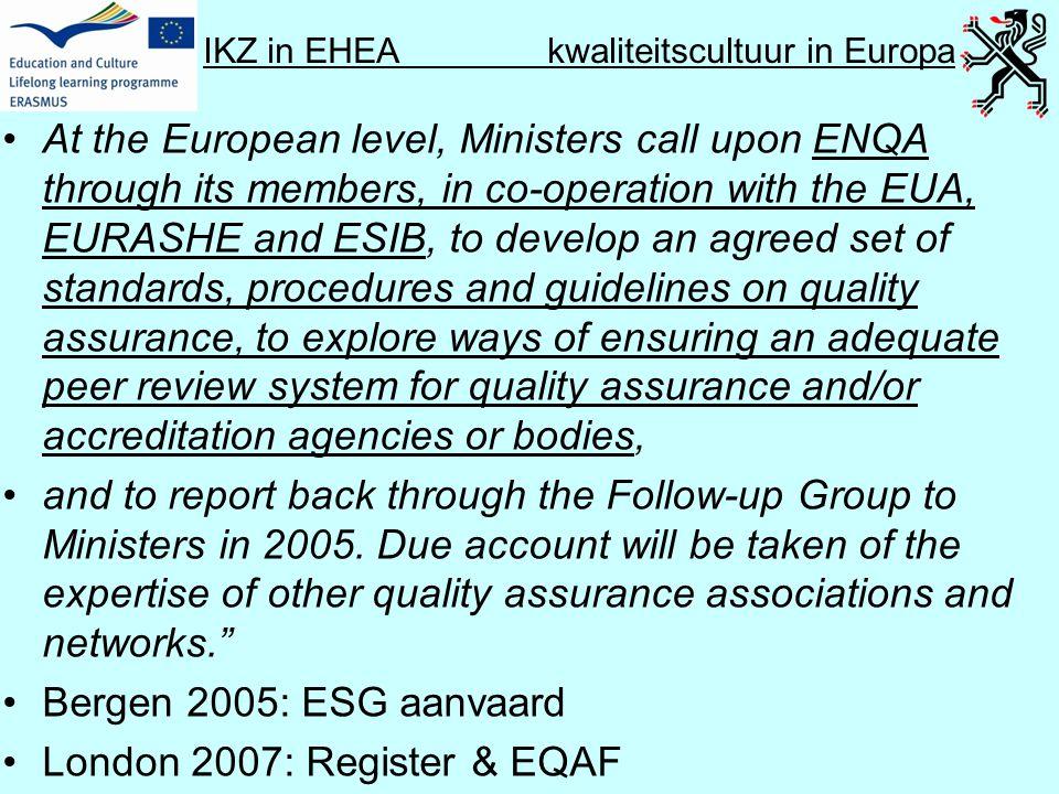 IKZ in EHEA kwaliteitscultuur in Europa