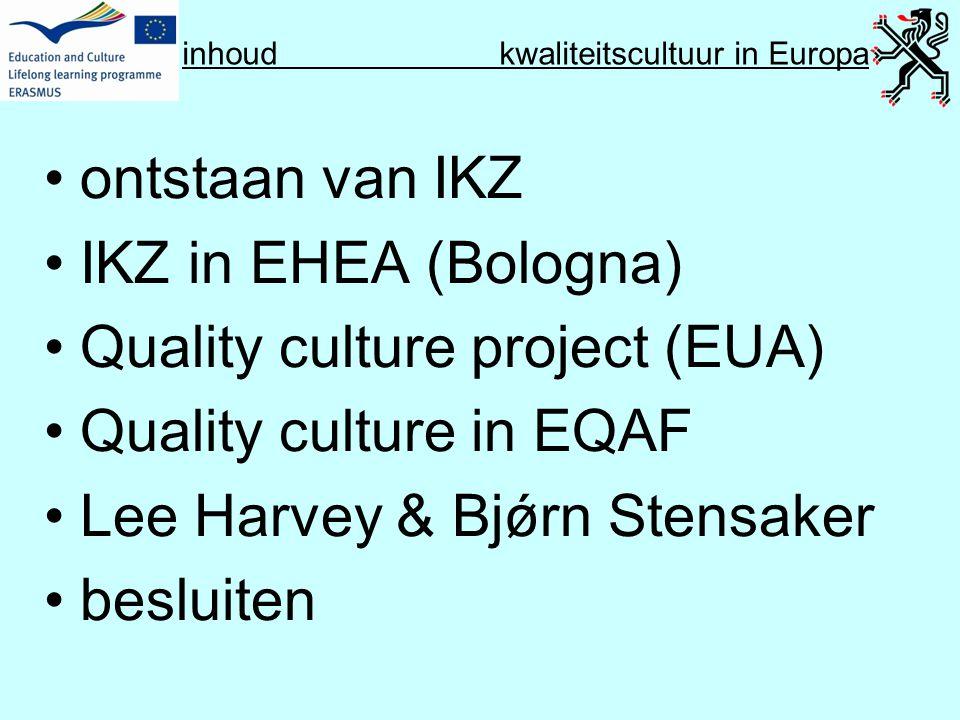 inhoud kwaliteitscultuur in Europa