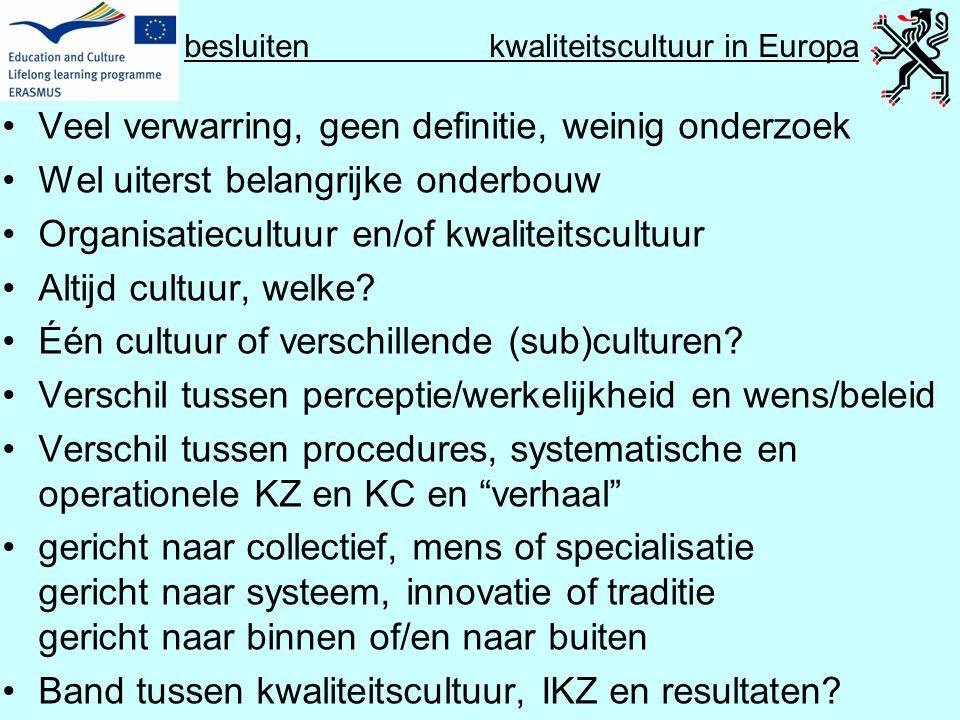 besluiten kwaliteitscultuur in Europa