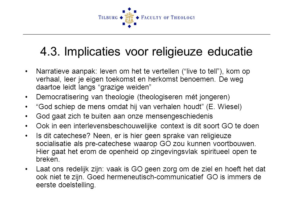 4.3. Implicaties voor religieuze educatie