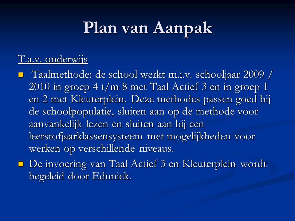 Plan van Aanpak T.a.v. onderwijs