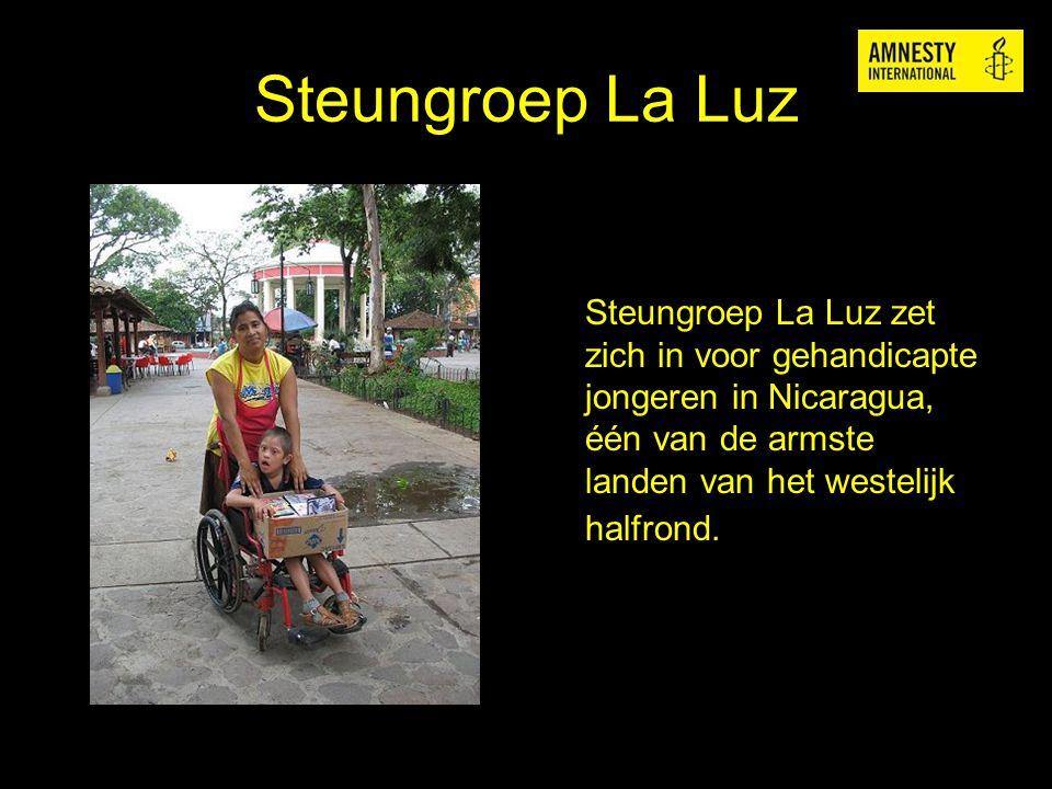 Steungroep La Luz Steungroep La Luz zet zich in voor gehandicapte jongeren in Nicaragua, één van de armste landen van het westelijk halfrond.