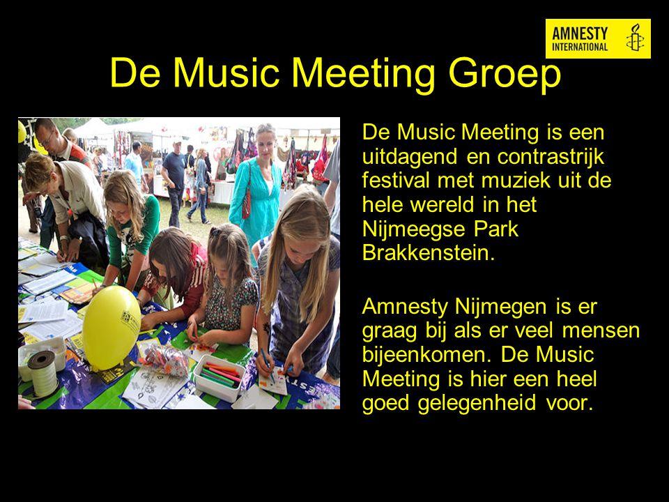 De Music Meeting Groep De Music Meeting is een uitdagend en contrastrijk festival met muziek uit de hele wereld in het Nijmeegse Park Brakkenstein.