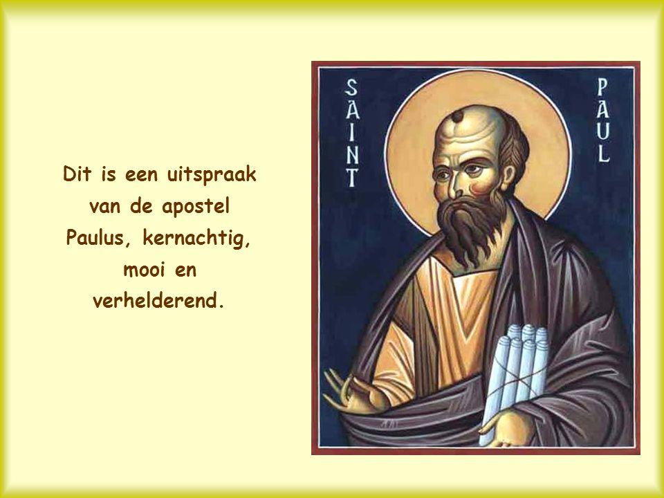 Dit is een uitspraak van de apostel Paulus, kernachtig, mooi en verhelderend.