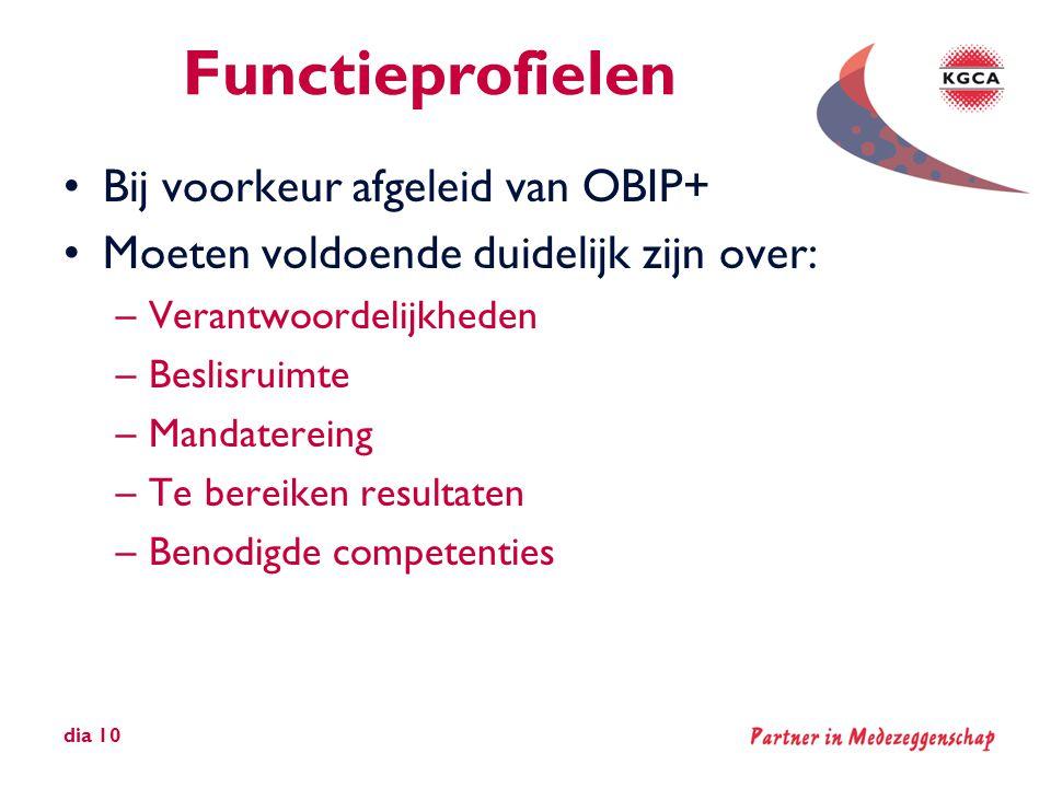 Functieprofielen Bij voorkeur afgeleid van OBIP+
