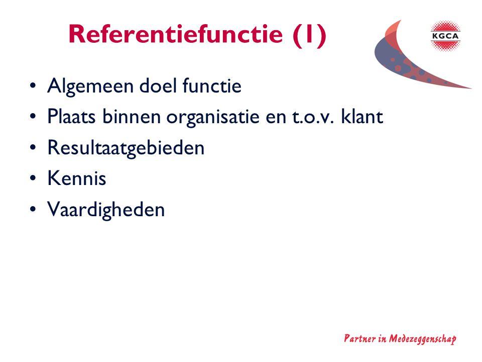 Referentiefunctie (1) Algemeen doel functie