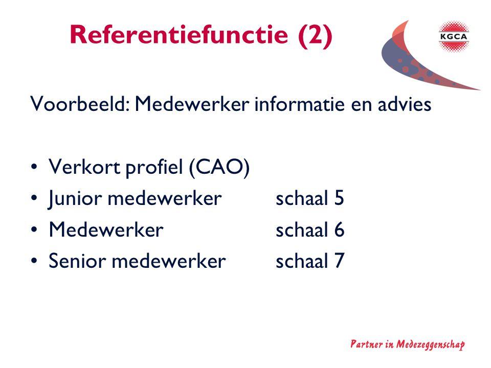 Referentiefunctie (2) Voorbeeld: Medewerker informatie en advies