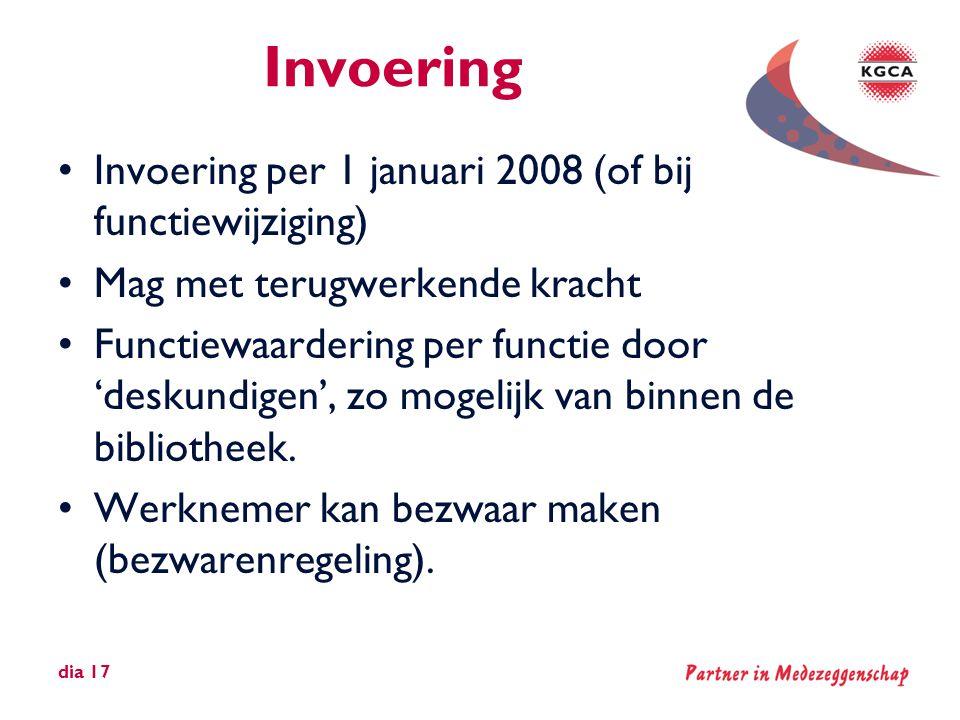 Invoering Invoering per 1 januari 2008 (of bij functiewijziging)