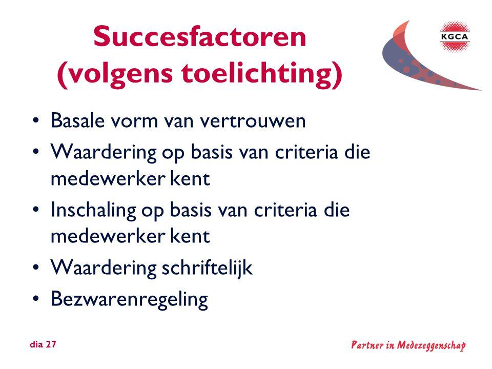 Succesfactoren (volgens toelichting)