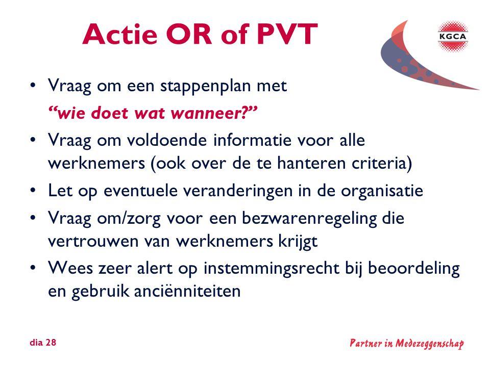 Actie OR of PVT Vraag om een stappenplan met wie doet wat wanneer