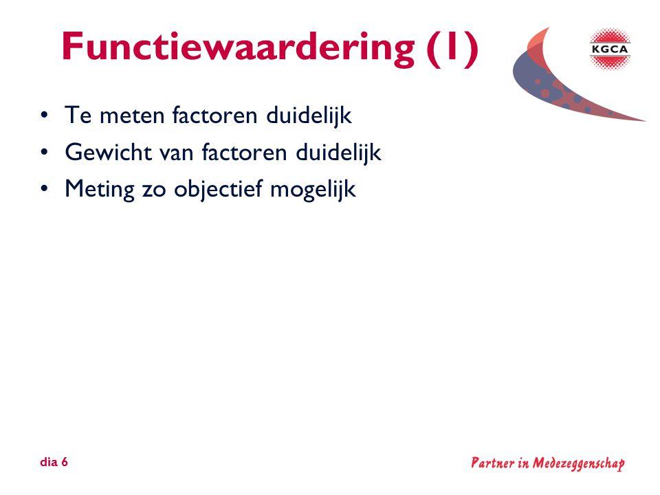 Functiewaardering (1) Te meten factoren duidelijk