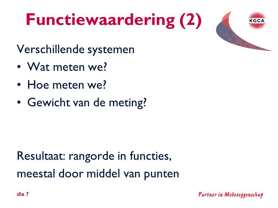 Functiewaardering (2) Verschillende systemen Wat meten we