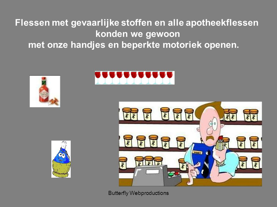 Flessen met gevaarlijke stoffen en alle apotheekflessen
