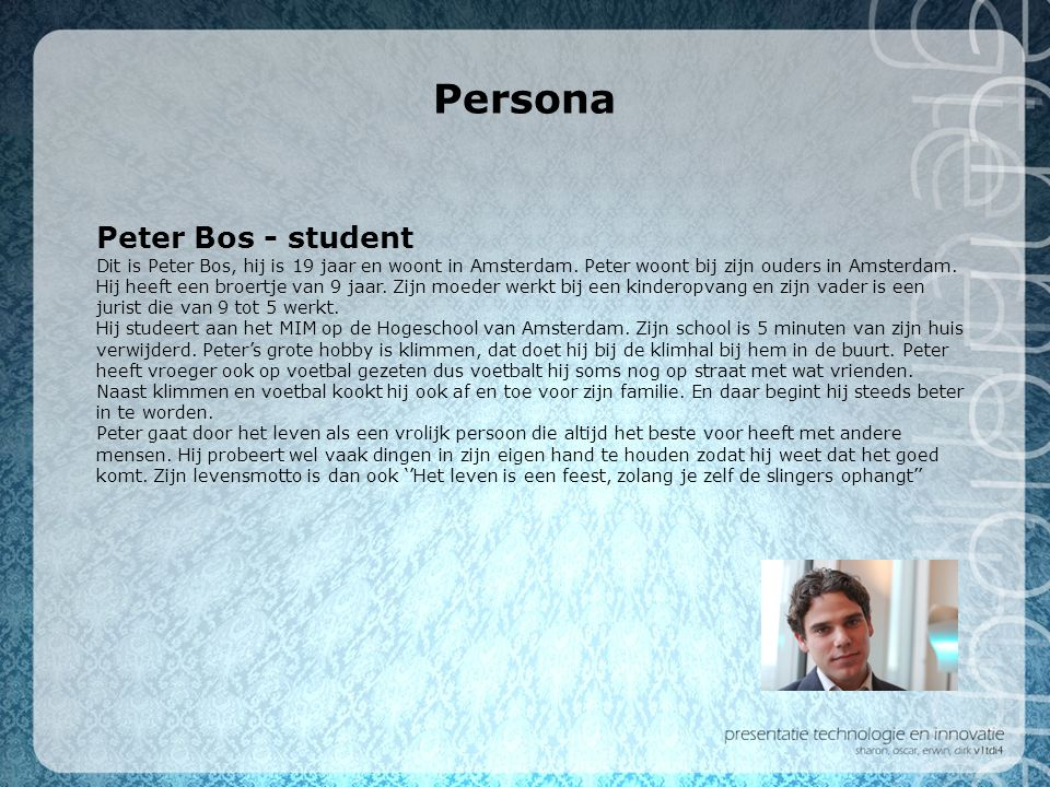 Persona Peter Bos - student