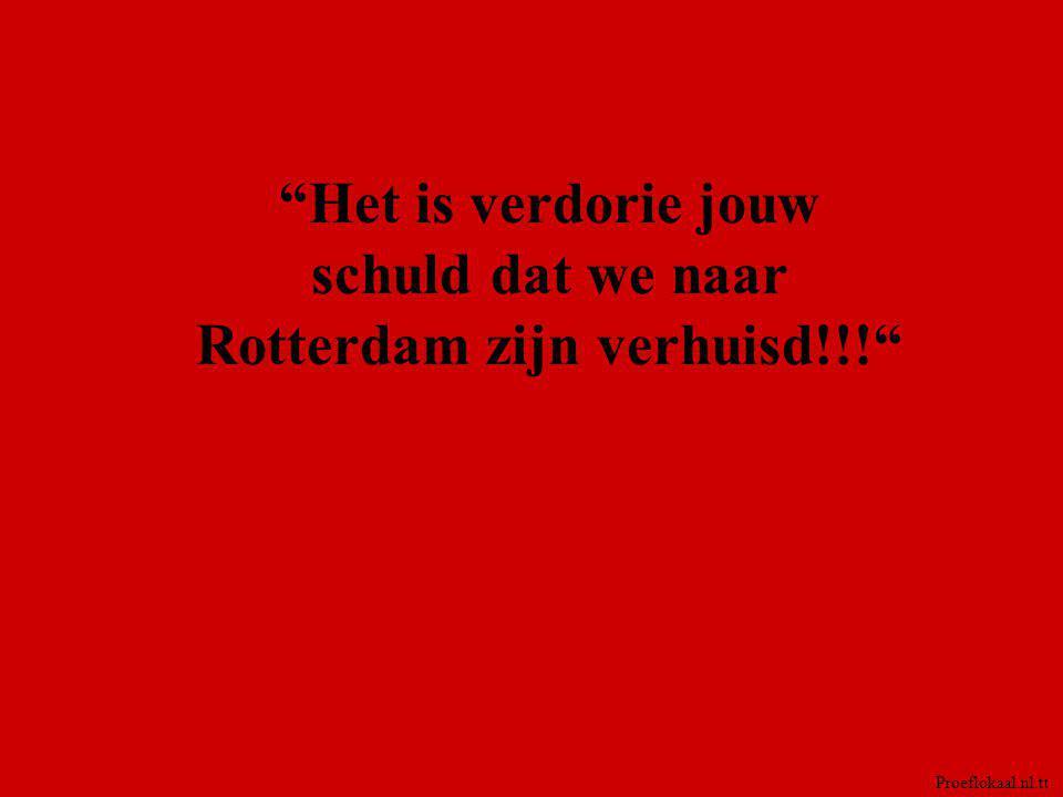Het is verdorie jouw schuld dat we naar Rotterdam zijn verhuisd!!!