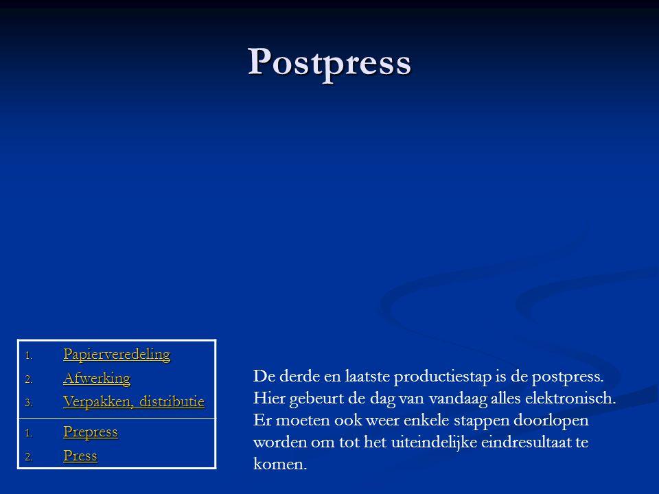 Postpress Papierveredeling. Afwerking. Verpakken, distributie. Prepress. Press.