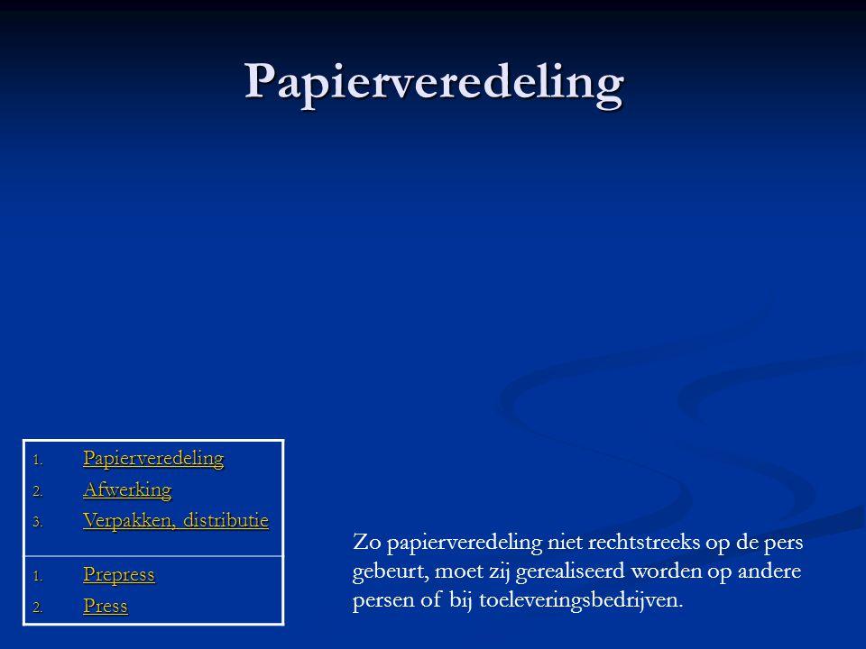 Papierveredeling Papierveredeling. Afwerking. Verpakken, distributie. Prepress. Press.