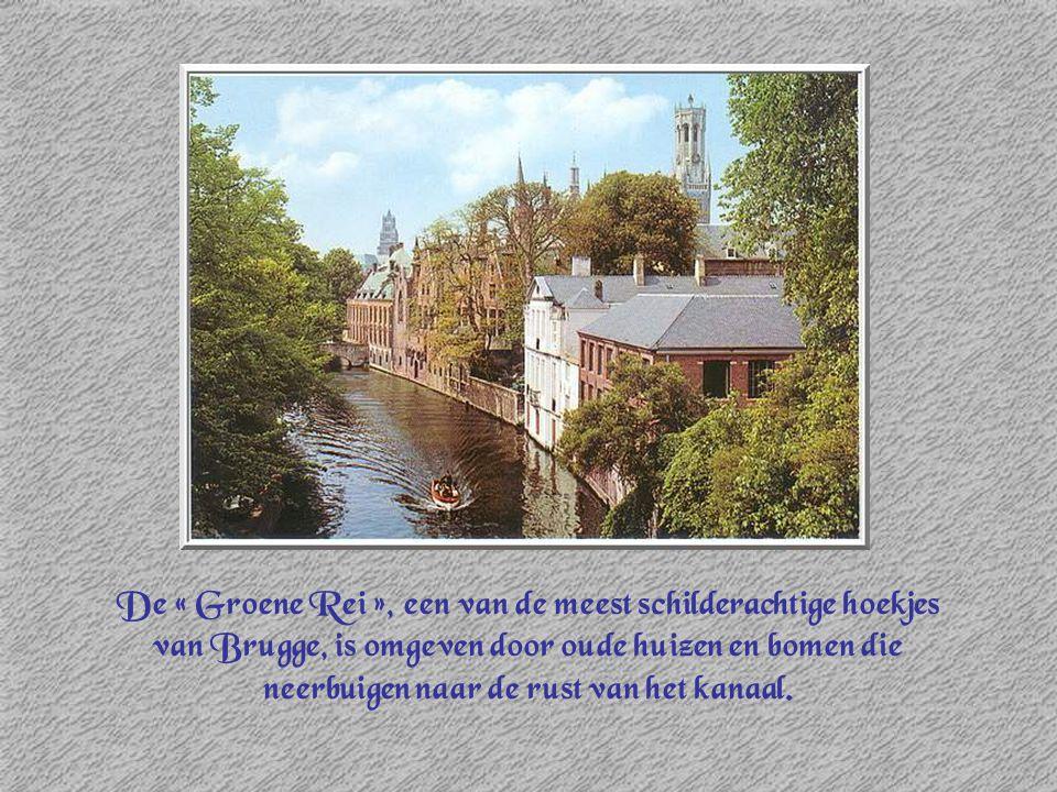 De « Groene Rei », een van de meest schilderachtige hoekjes van Brugge, is omgeven door oude huizen en bomen die neerbuigen naar de rust van het kanaal.