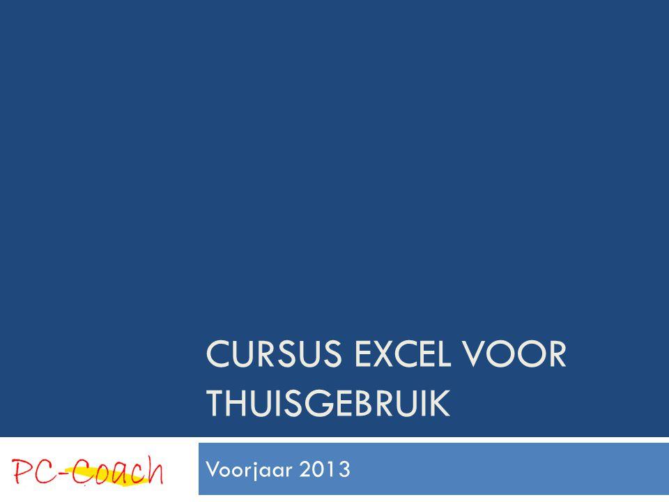 Cursus EXCEL VOOR THUISGEBRUIK